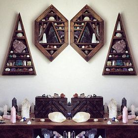StoneViolet Crystal and Mineral Curio Sets von stoneandviolet diy geometric shelves wooden triangle shelf diamonds shaped crystal display shrine