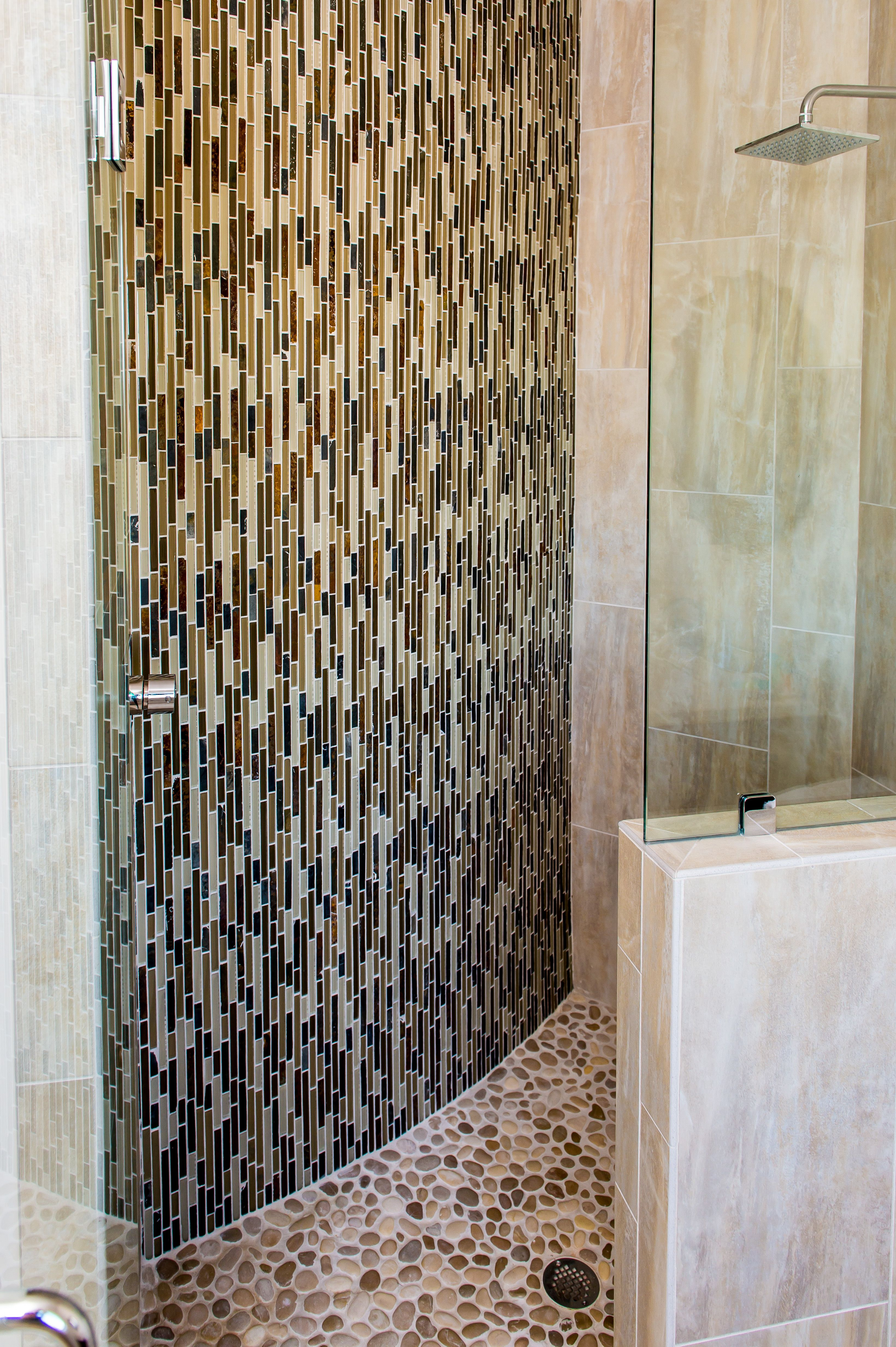 Love This Walk In Zero Entry Shower Looks Like It Belongs In An Over Water Bungalow In Bali Pebblestone Floor Granite Tile Glass Mosaic Tiles Mosaic Glass Decorative glass tiles bathroom