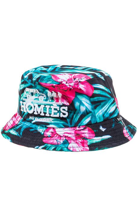 718e9bcfc10 The Homies Floral Bucket Hat in Black