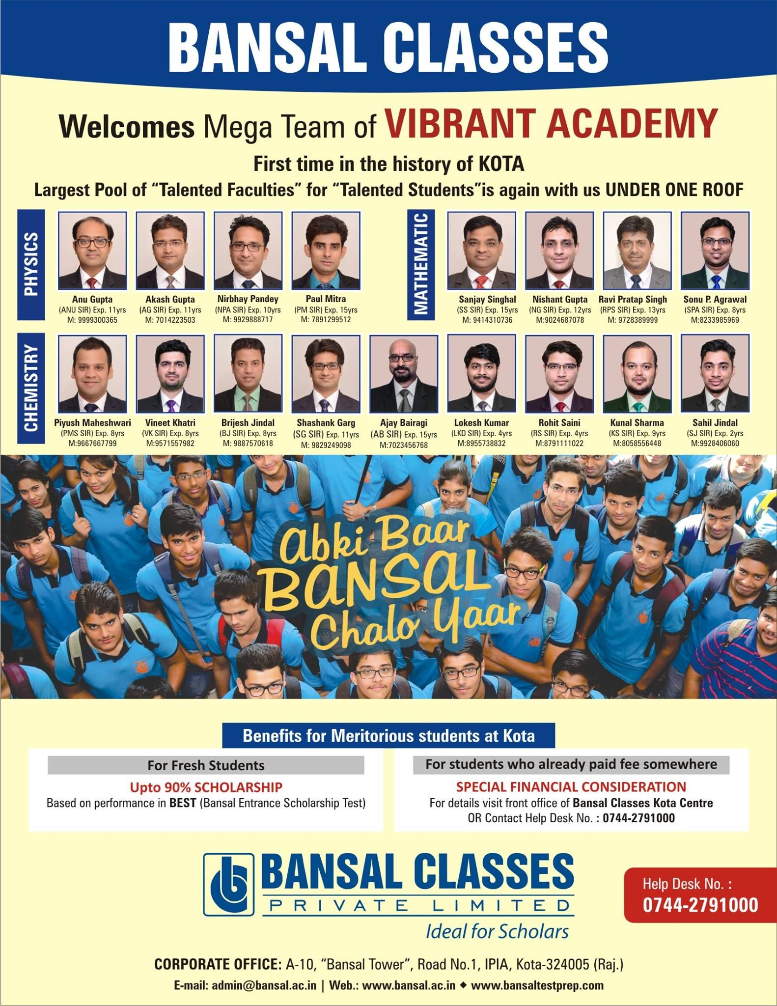 Bansal Classes Class Kota Faculties