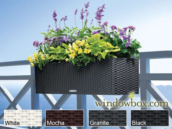 balcony rail planter with a wicker look window boxes and. Black Bedroom Furniture Sets. Home Design Ideas