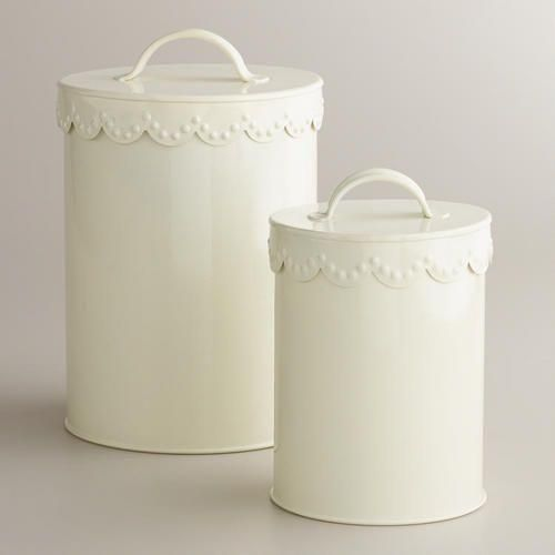 Affordable Home Decor Online: Ivory Vintage Scalloped Top Canisters