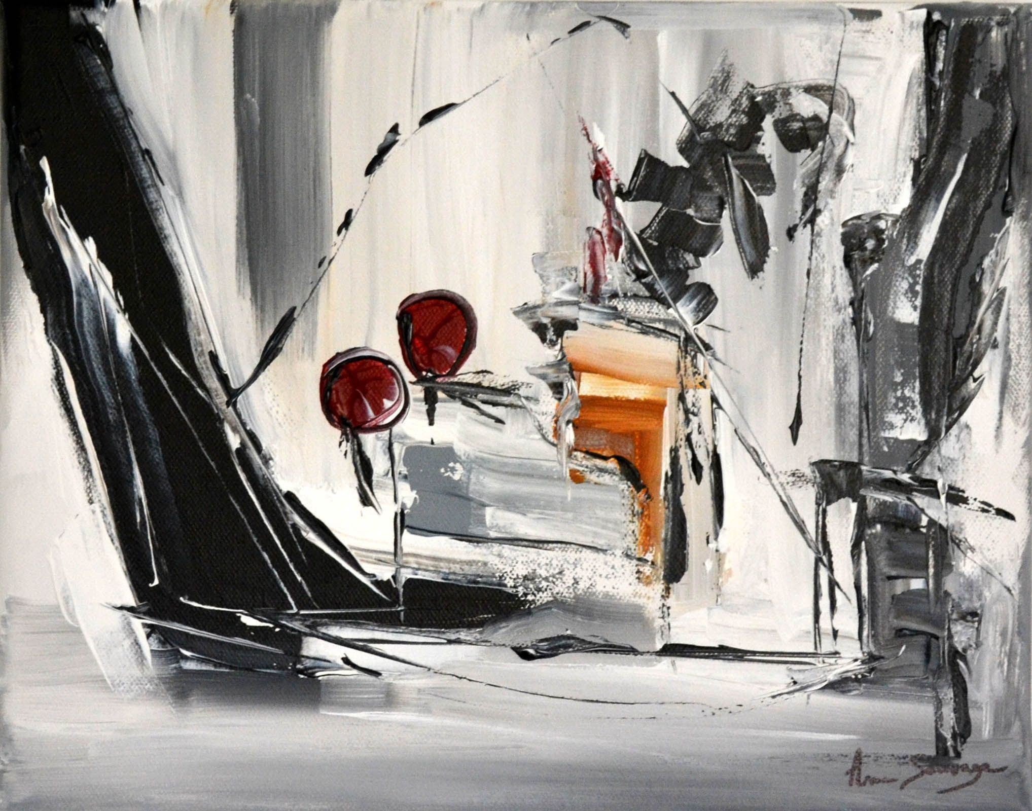 في أي وقت تنس الريشة متألق tableaux contemporains en noir et blanc