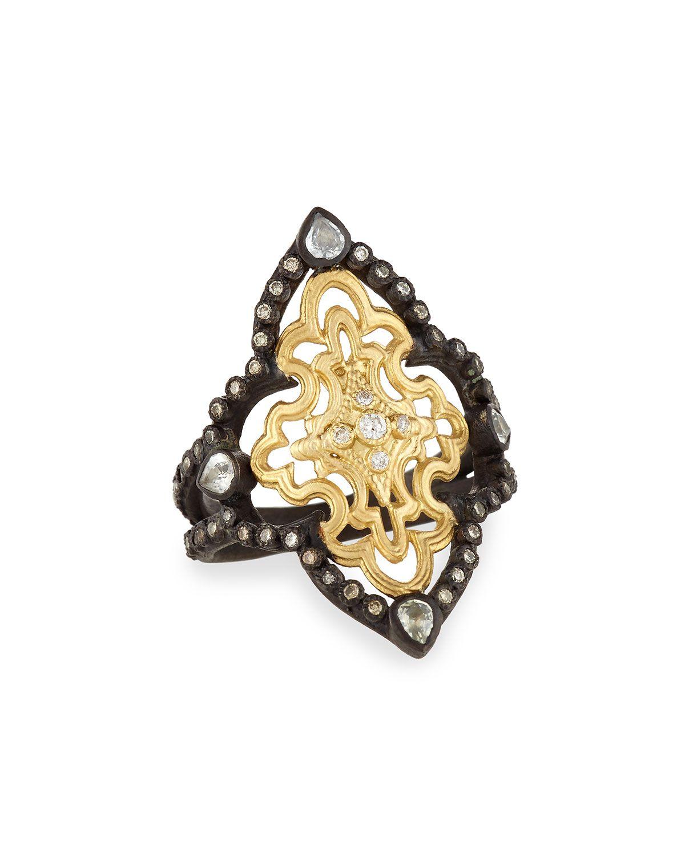 Armenta Old World Mosaic Scroll Ring w/ Diamonds, Size 7