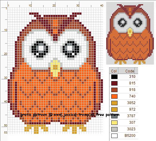 Hedendaags 137 Free cross stitch designs owls stitchingcharts borduren gratis GI-57