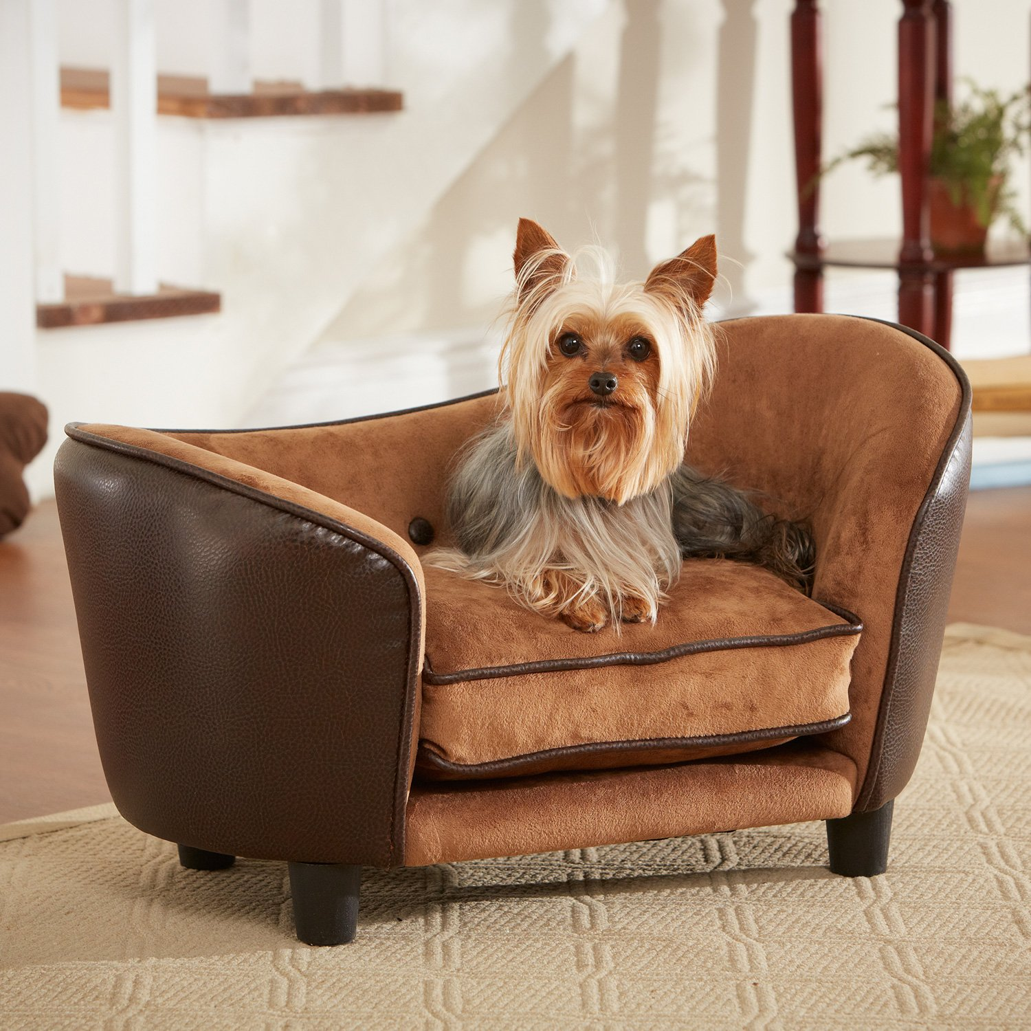 Remarkable Enchanted Home Pet Ultra Leather Snuggle Dog Bed In Brown Machost Co Dining Chair Design Ideas Machostcouk