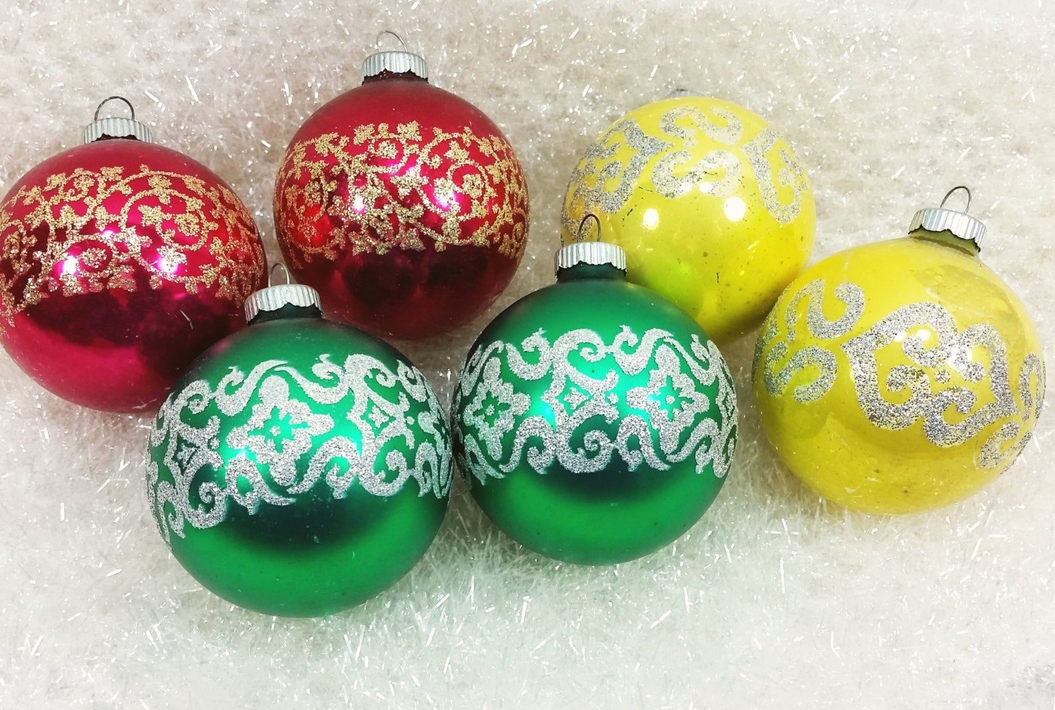 4 UT Ball Christmas Ornaments Green Holly Red Silver Stenciled