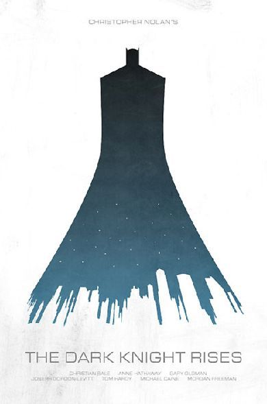 This book cover displays constrained visual language through the use of one element to express many visuals of the storyline. The city skyline is cleverly woven into the hemline of the dark knights cloak, with a scattering of stars to denote a night sky. By creating three facets of the story with the one element this image demonstrates constrained visual language.