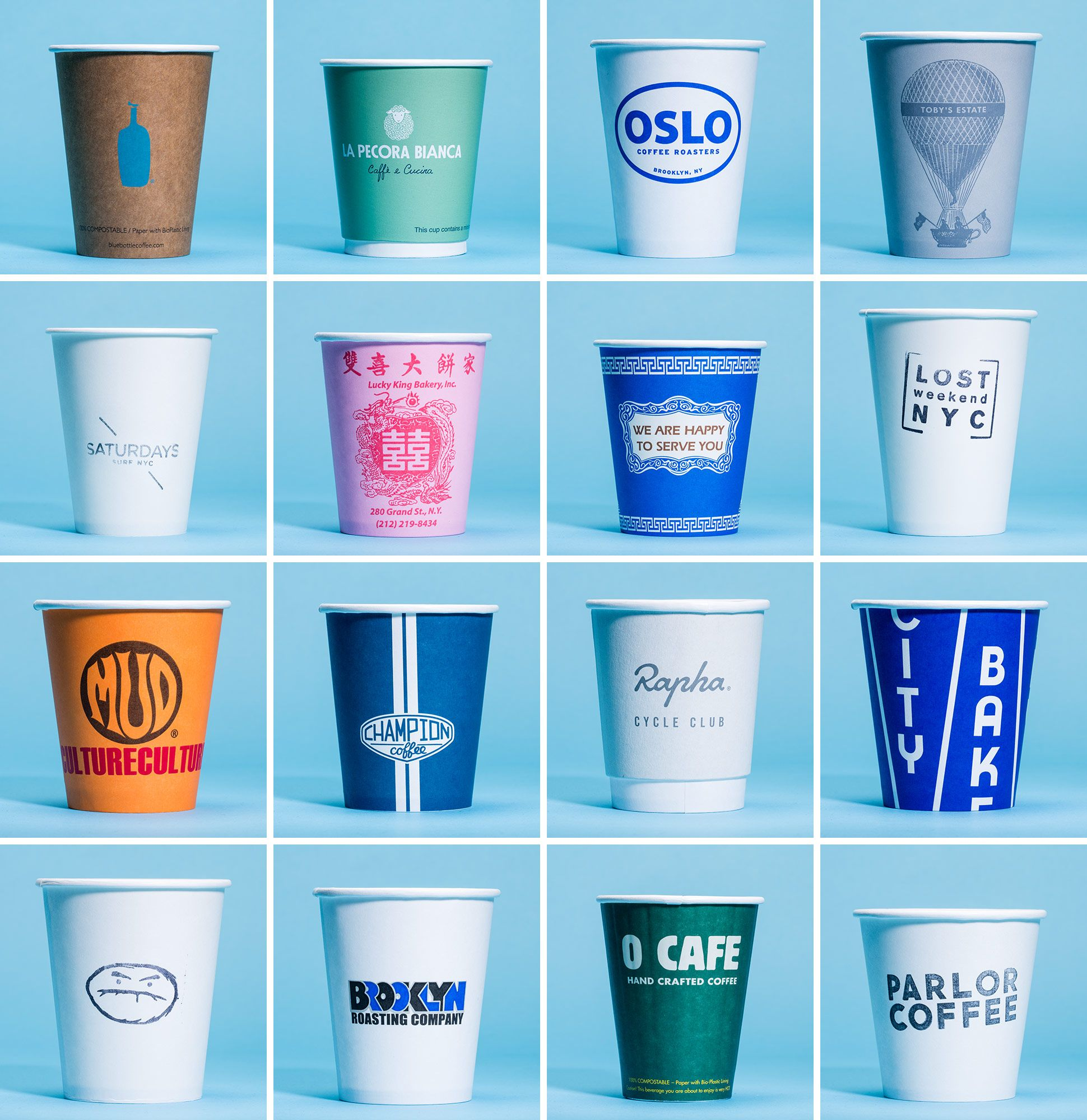 A Visual Survey of NYC Coffee Cups Coffee cup design, To