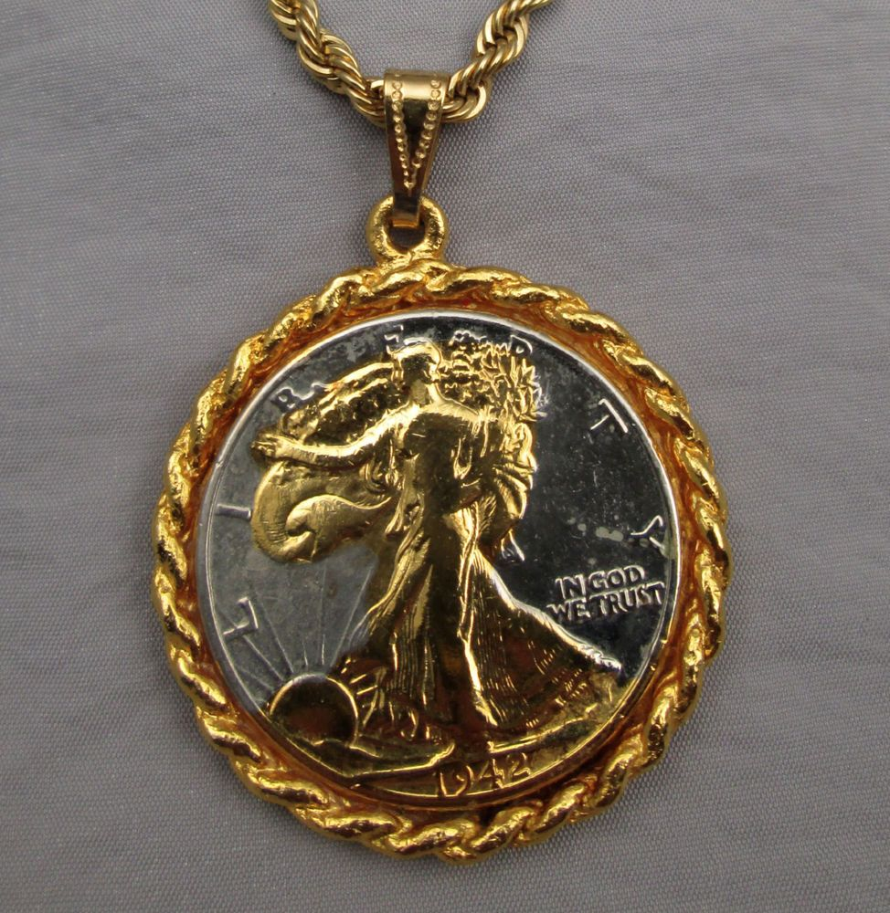 Vintage 1970s Necklace Gilded 1942 Walking Liberty Half