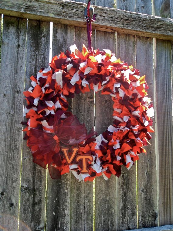 Sports Football Themed Rag Wreath Wreaths, Michigan
