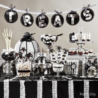 Halloween Candy Buffet Ideas Black And Bone Party City Halloween Candy Buffet Halloween Candy Bar White Halloween Party