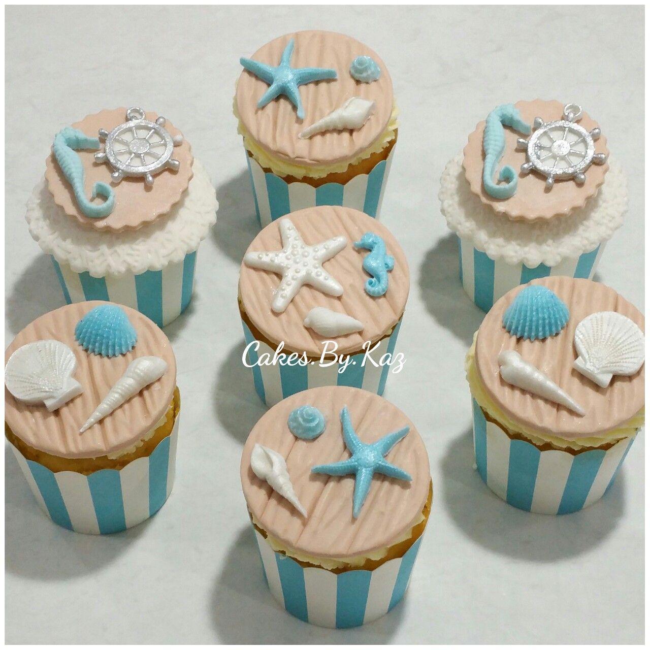 Vanilla Beach Themed Cupcakes With Fondant Sea Shells Starfish