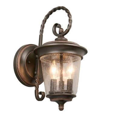 Hampton bay 3 light oil rubbed bronze large outdoor wall lantern hampton bay 3 light oil rubbed bronze large outdoor wall lantern gtp1613al the home depot aloadofball Choice Image