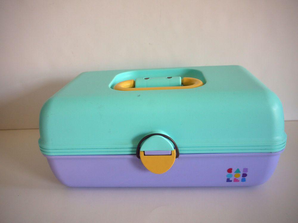 Vintage Caboodles Case 2602 Blue Purple Slide Out Trays Jewelry