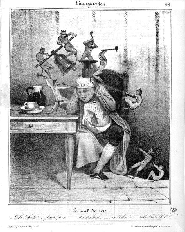 Honoré Daumier. Le mal de tête. Lithographie parue dans Le ...