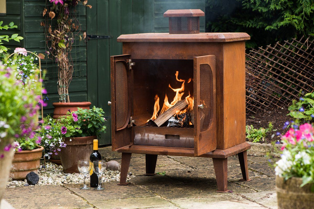 Rustic Steel Wood Burning Outdoor Fireplace In 2021 Outdoor Wood Burning Fireplace Outdoor Fireplace Patio Fireplace
