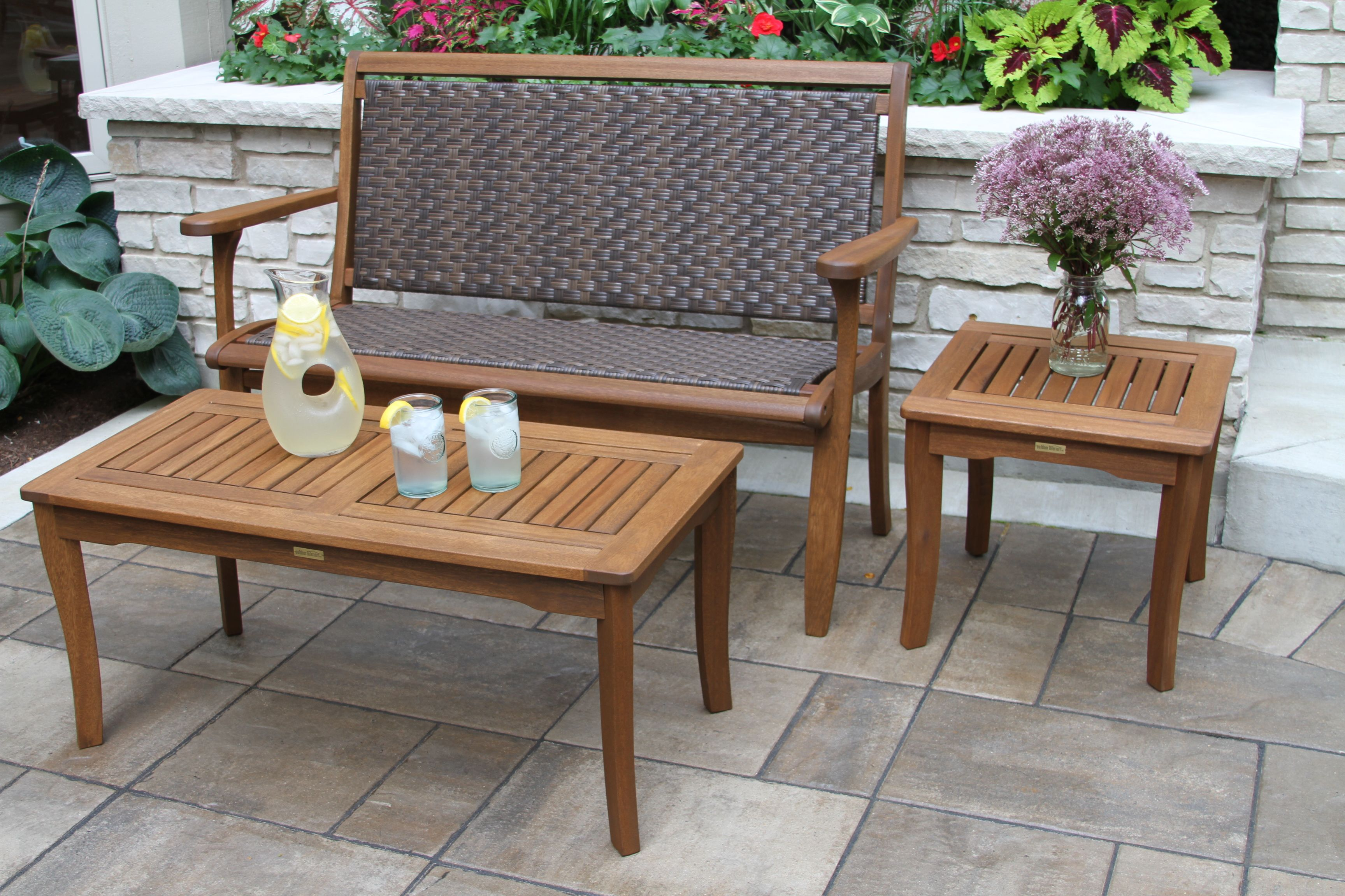 Brown Wicker Eucalyptus Hardwood Bench For Decks Patios