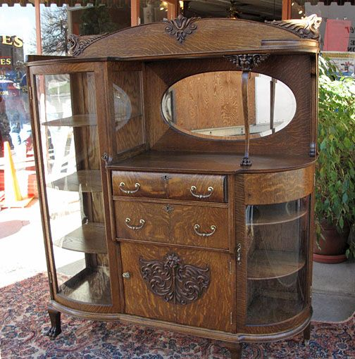 Antique Curio. This piece has it all. Side board, Curio Cabinet and China - Antique Curio Cabinets QUARTER SAWN OAK CURVED GLASS CHINA