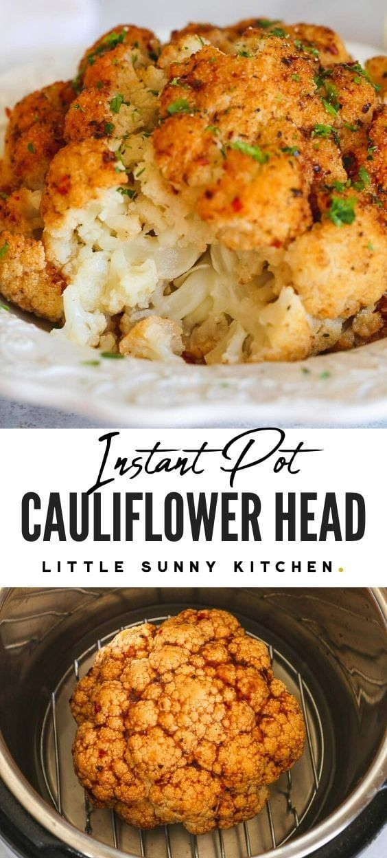 Easy roasted sweet and spicy Instant Pot cauliflower. It makes the perfect side dish to accompany any meal, it's naturally gluten-free, vegan and great for meal prep. #instantpotcauliflower #cauliflowersidedish #veganside