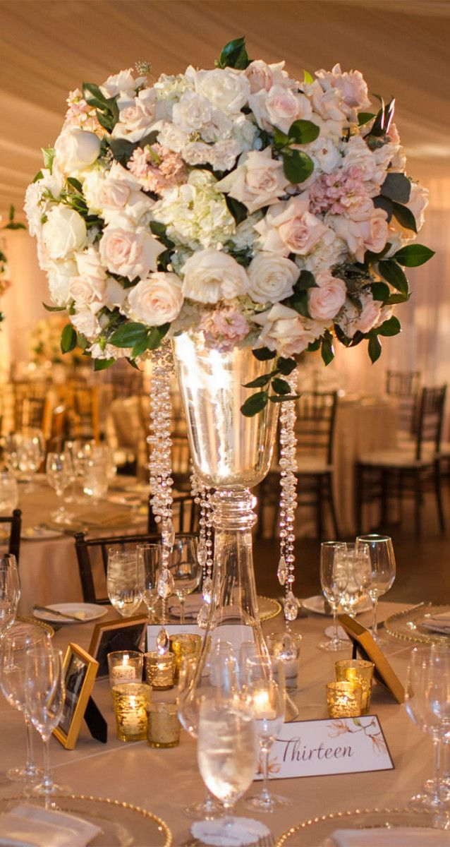 Ivory and Gold with Tall and Full Centerpiece