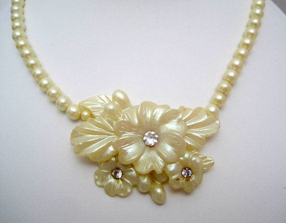 White Celluloid Necklace Floral Rhinestone by VintagObsessions #vogueteam #celluloidnecklace #bridalnecklace #pearlnecklace #floralnecklace #giftforher #lastminutegift