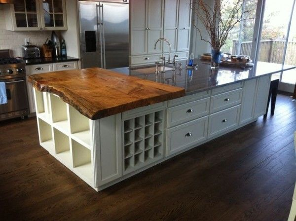 Nice Kitchen Island With Countertop From Solid Wood Boards On Gloss Polyurethane  Varnish Above Built In Wine