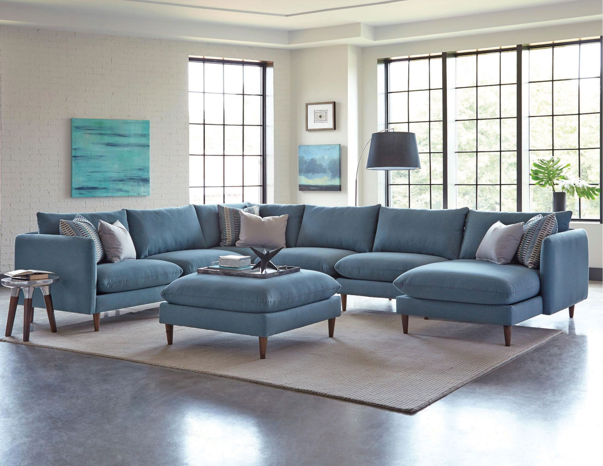 Melbourne Blue Upholstered 6 Piece Casual Modern Sectional