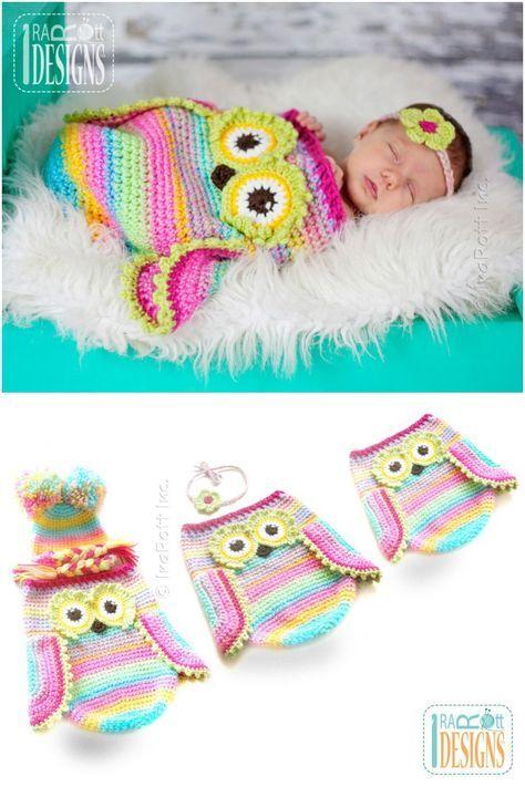 Crochet Cute Baby Owl Cocoon with Pattern   Pinterest   Garn