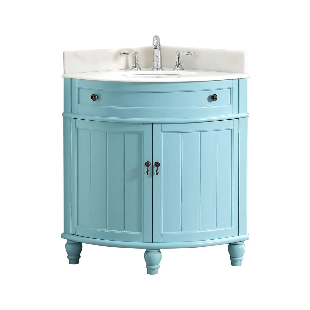 Modetti Angolo 34 In W X 24 In D Bath Vanity In Blue With Marble Vanity Top In White With White Basin Mod47533bl Marble Vanity Tops Small Space Bathroom Bath Vanities