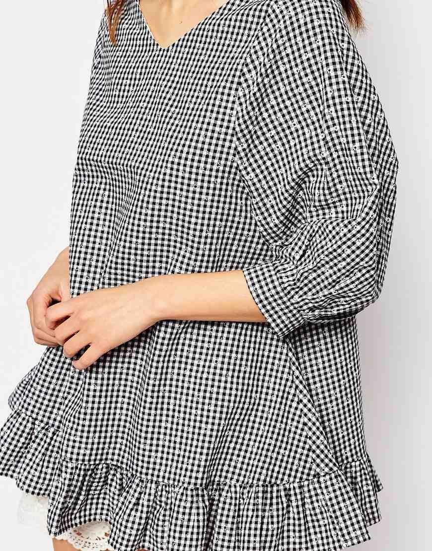 Image 3 of I Love Friday Oversized Top With Ruffle Hem In Gingham