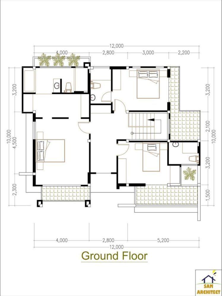 5 Bedrooms Modern Home 10x12m Samphoas Plansearch Modern House House Plans Modern Bedroom