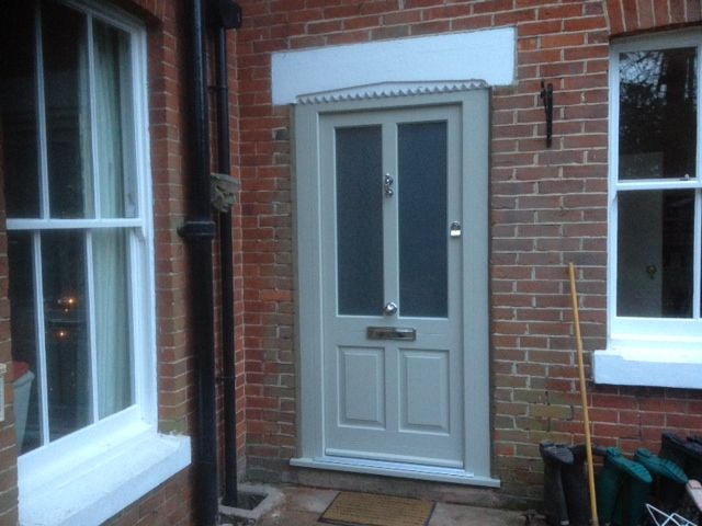 Kingston entrance door in French grey. Satinovo obscure glass and chrome furniture & Kingston entrance door in French grey. Satinovo obscure glass and ...