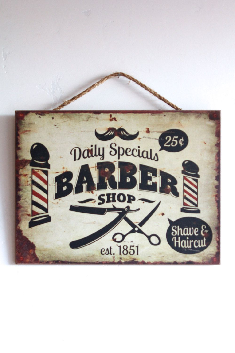 Barber shop pole distressed wall decal vintage style wall decor ebay - Barber Shop Decor Wooden Sign Business Or Home Decor Vintage Style Distressed Look