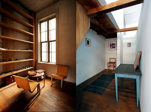 Donald Judd's loft at 101 Spring Street, Soho. Wooden chairs near the  window are