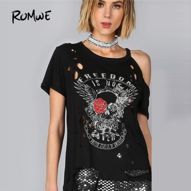 9206b81d80e Cheap tee shirt, Buy Quality t shirt directly from China oversized t shirt  Suppliers: ROMWE Freedom Burn Out Tee Shirt 2018 Black Floral Halloween  Cold ...