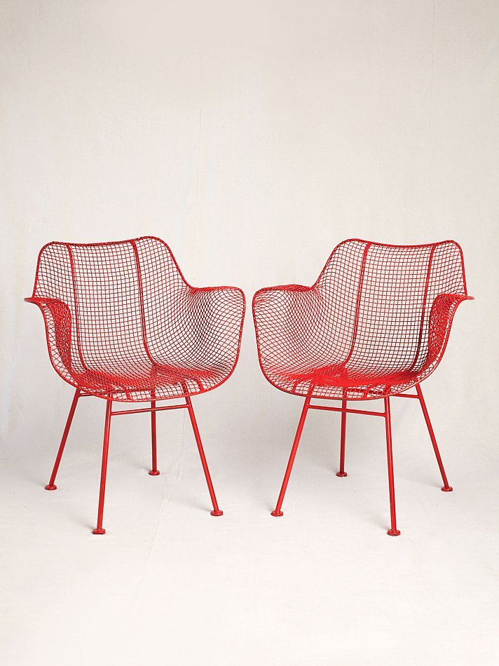 Enjoyable Vintage Red Mesh Metal 1950S Chairs House Items I Want Evergreenethics Interior Chair Design Evergreenethicsorg