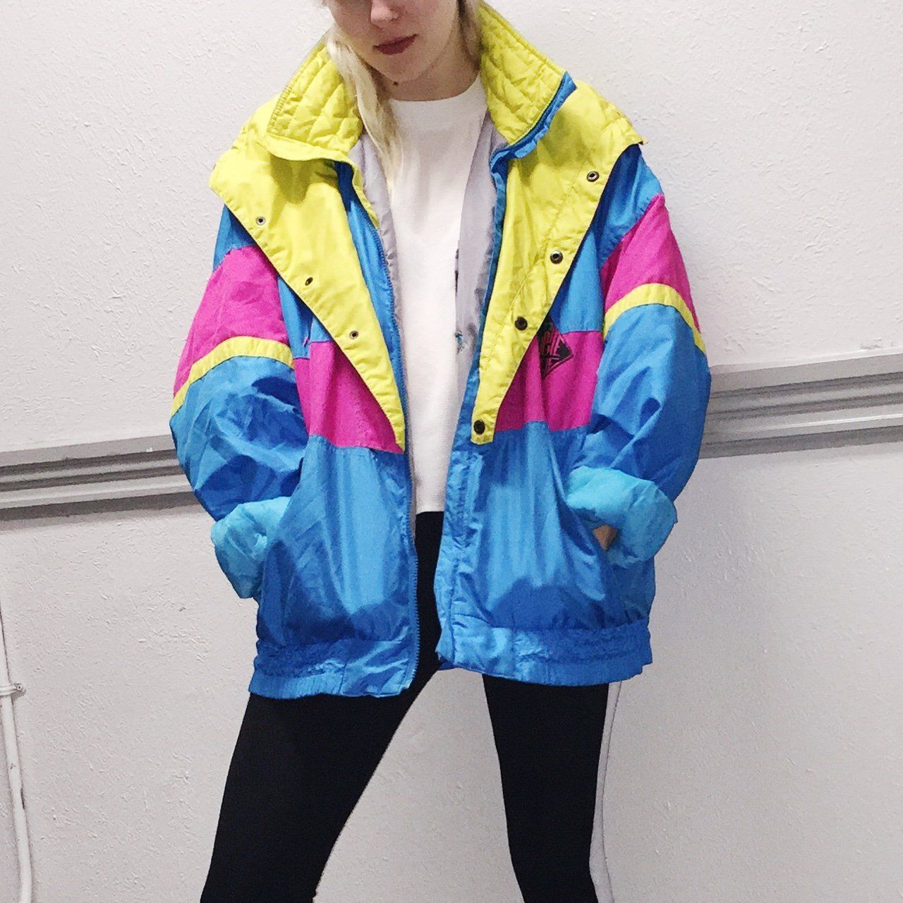 a327d9d7 The color block ski jacket 💛 Classic 80s/90s vibe. The bright colors are  killer. Great condition! Pair with any old baggy jeans and a crop.