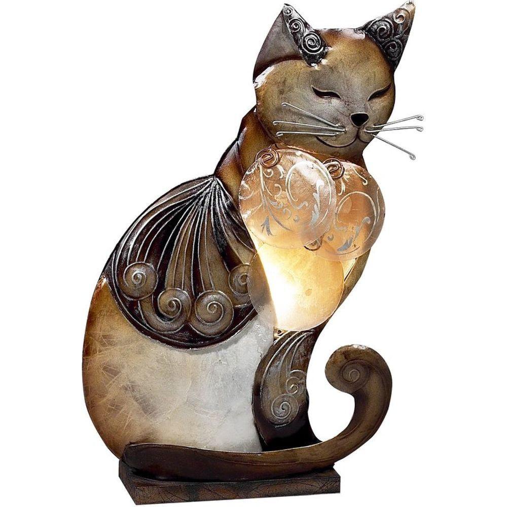 14 Cat Table Lamp Sitting Kitty Capiz Shells Figurine Night Light Kitten Unbranded Cat Lamp Red Barrel Studio Novelty Lighting