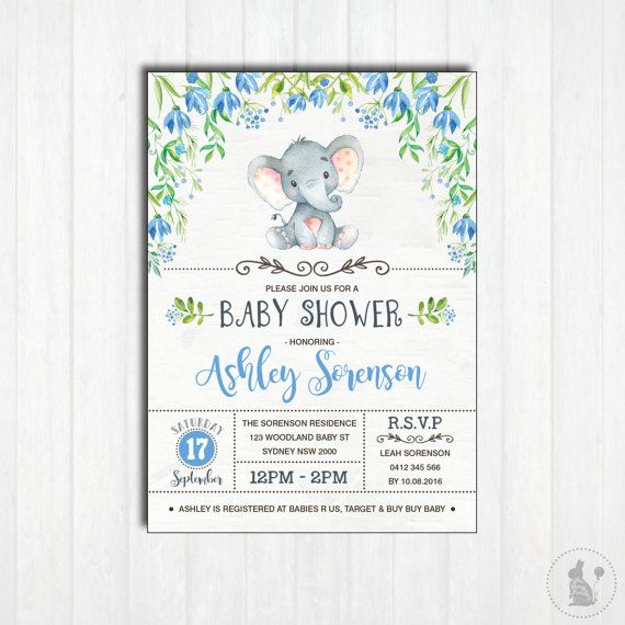 ELEPHANT Baby Shower Invitation Printable Baby Boy Woodland - printable baby shower invite