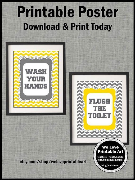 Wash Your Hands Flush The Toilet Bathroom Rules Signs Yellow And Gray Decor Kids Wall Art Prints Chevron