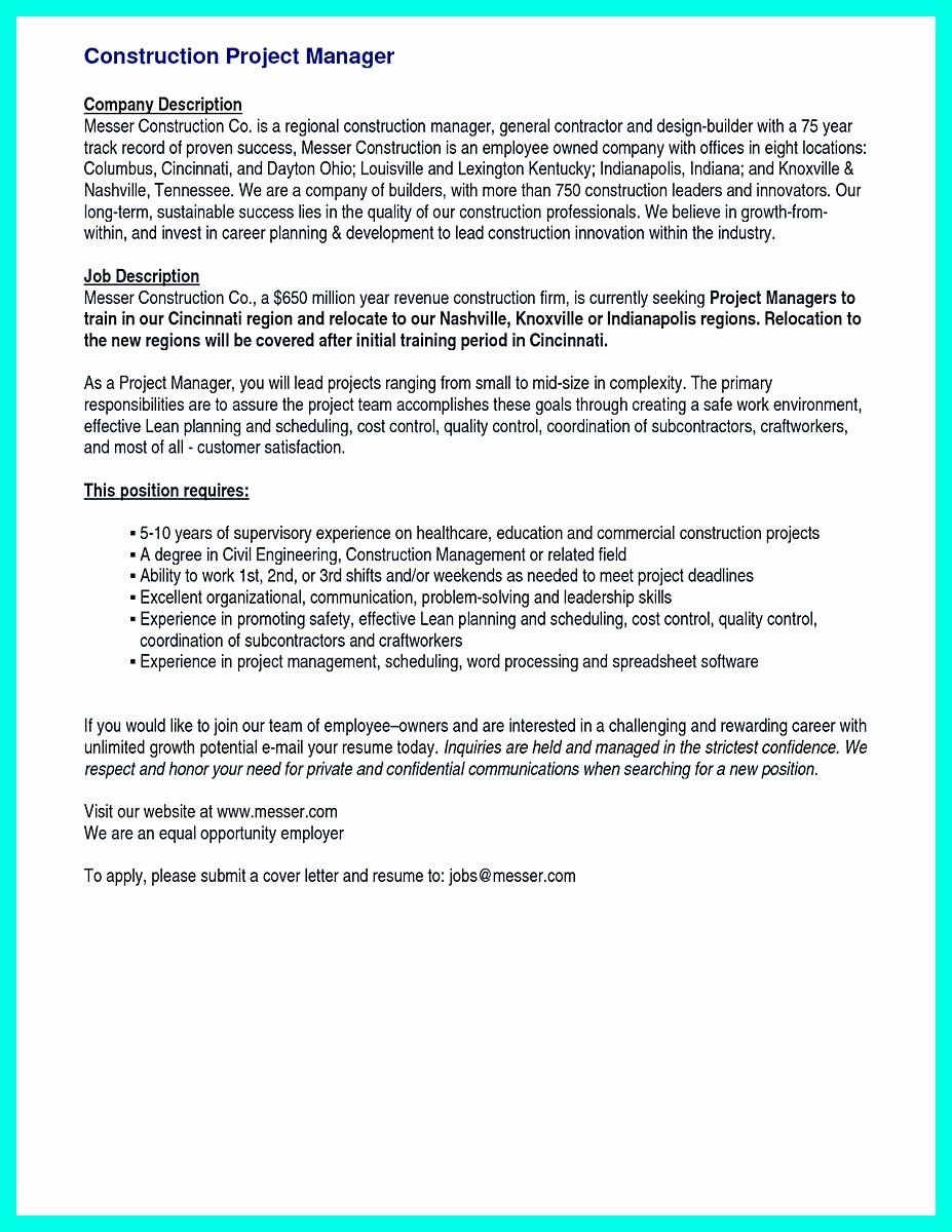 Construction project manager resume unique cool