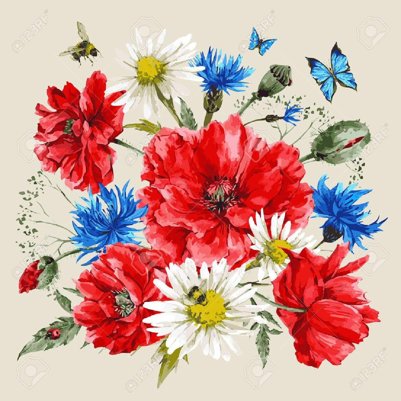 Vintage aquarelle bouquet de fleurs sauvages coquelicots marguerites bleuets vecteur - Bouquet de fleurs sauvages ...