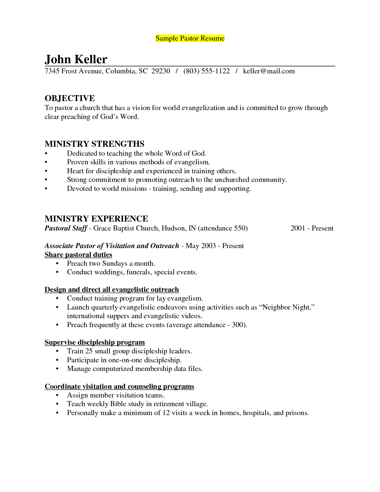 pastor cover letter to resume The sample below is for a senior pastor resume this resume was written by a resumemycareer professional resume writer, and demonstrates how a resume for a.