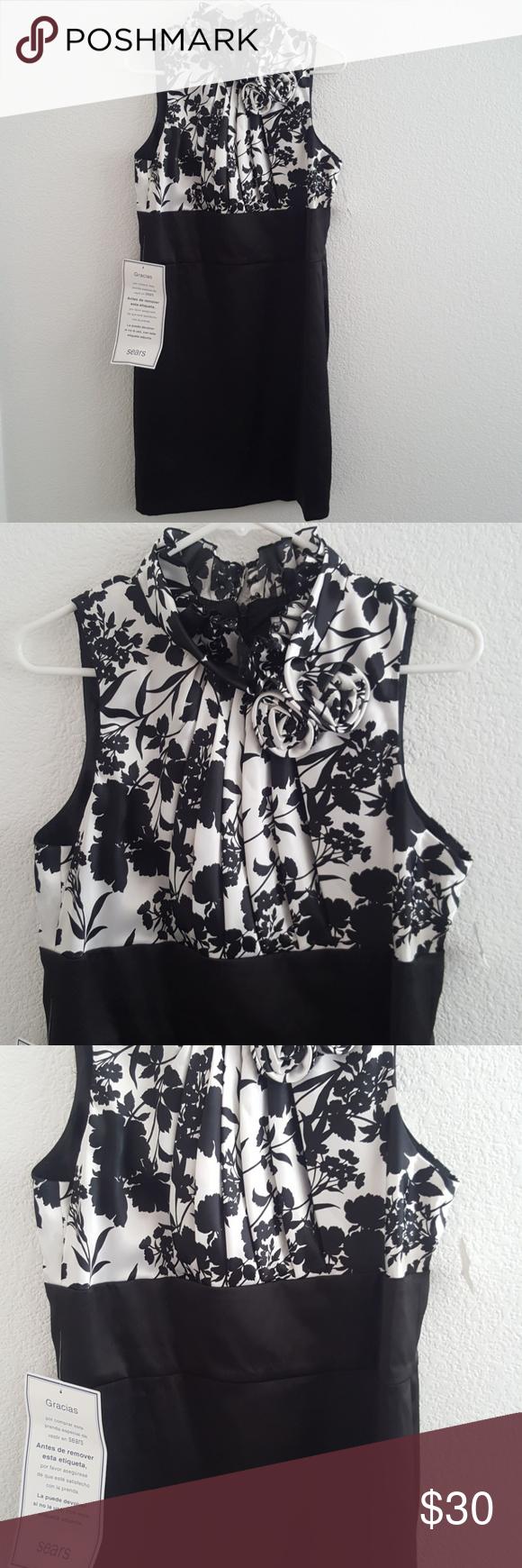 Black White Sleeveless Dress Nwt White Sleeveless Dress Flower