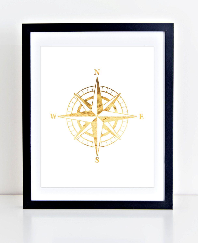 Compass Wall Print Golden Compass Art Nautical Compass