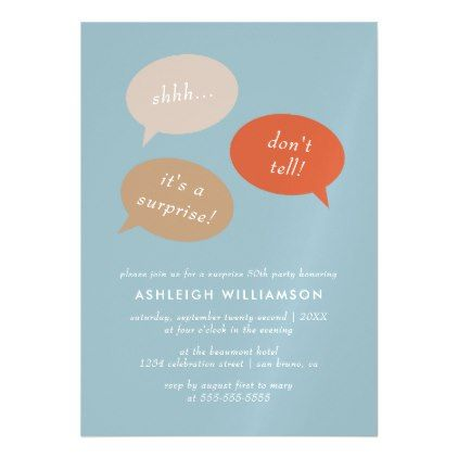 #Shhh... Surprise Birthday Party | Speech Bubbles Magnetic Card - #birthday #invitations