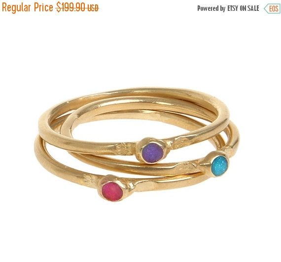 SALE Delicate stacking 14K Gold dot ring inlaid with colorful Enamel delicate stacking knuckle dot ring, Stackable Jewellery