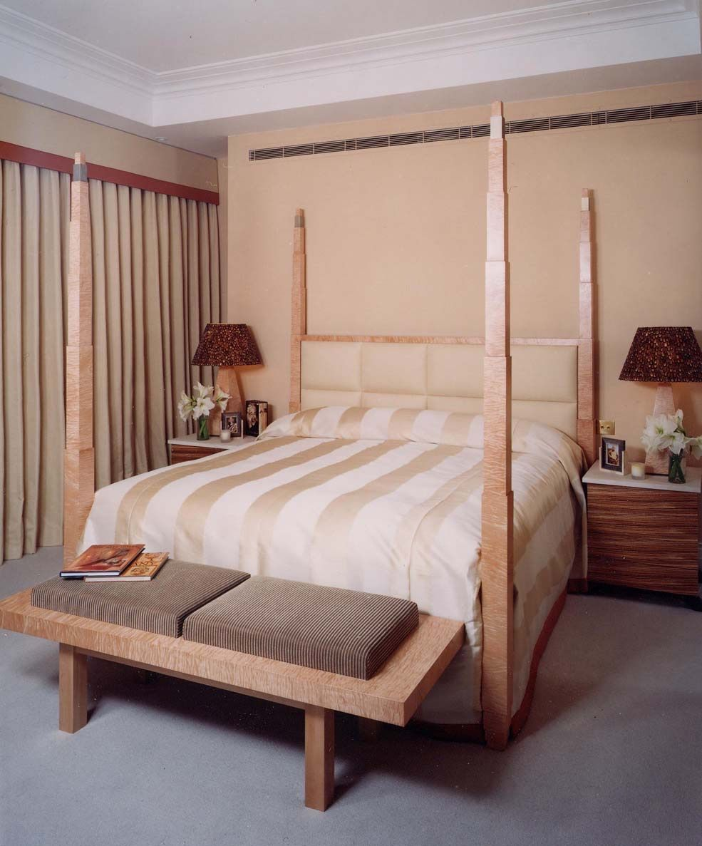 Four poster bed and headboard