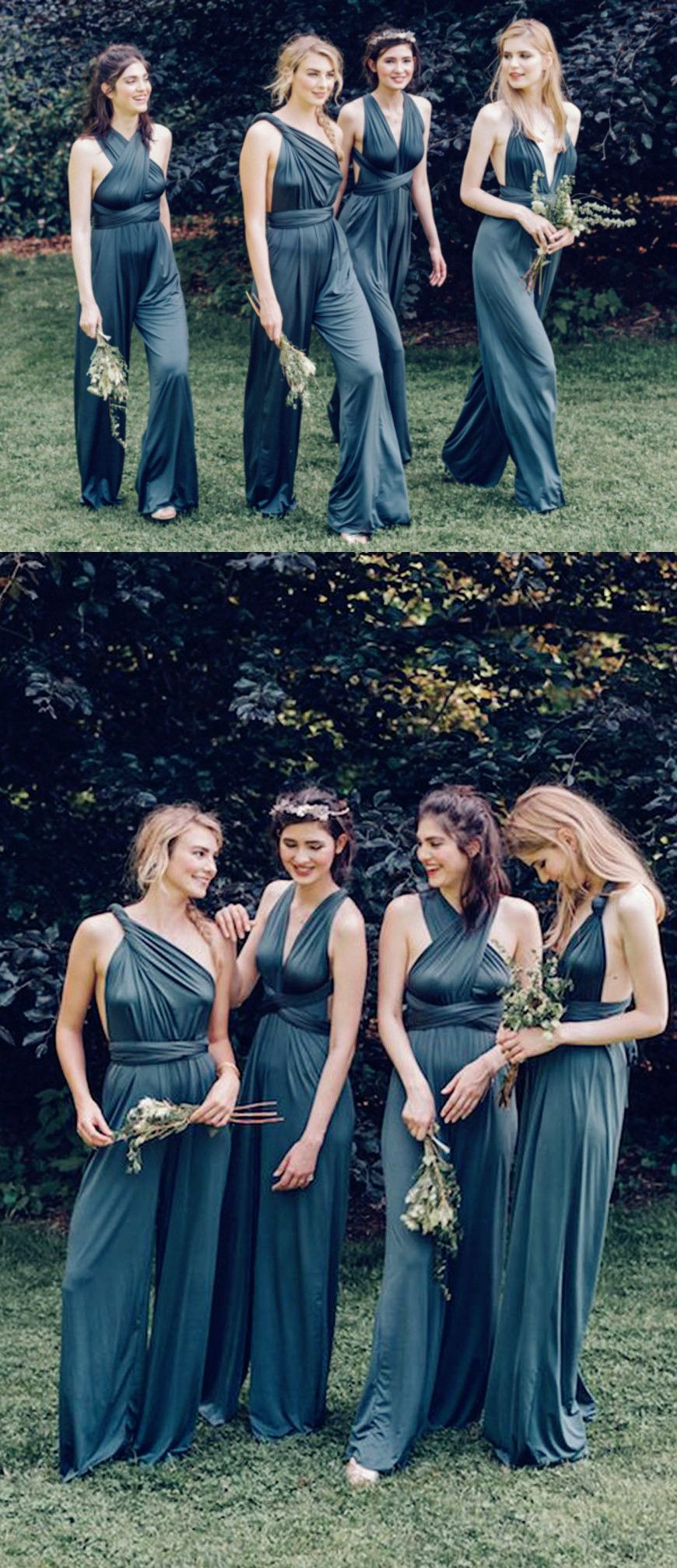aac7335d0684 One Shoulder Backless Blue Chiffon Bridesmaid Jumpsuit With Sash ...
